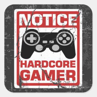 Hardcore Gamer Notice Signboard Square Sticker