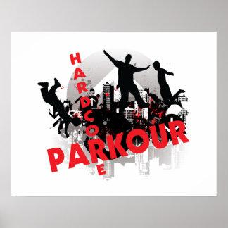 Hardcore Parkour Grunge City Poster