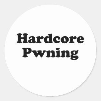 Hardcore pwning classic round sticker