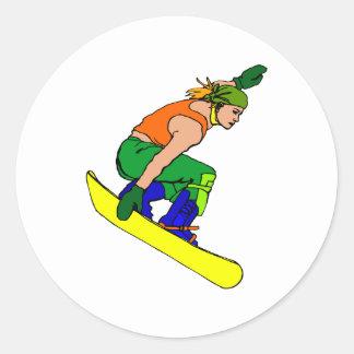 Hardcore Snowboard Gal Round Stickers