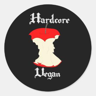 Hardcore Vegan Apple Design Classic Round Sticker