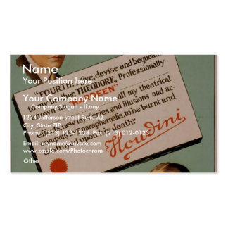 Hardeen , 'Houdini's Will' Vintage Theater Double-Sided Standard Business Cards (Pack Of 100)
