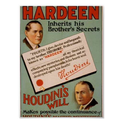 Hardeen , 'Houdini's Will' Vintage Theater Posters