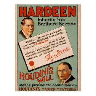 """Hardeen, """"teatro del vintage de la voluntad de tarjeta postal"""