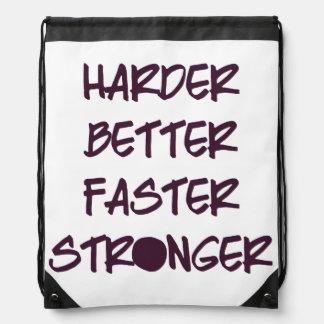 Harder Better Faster Stronger Drawstring Bag