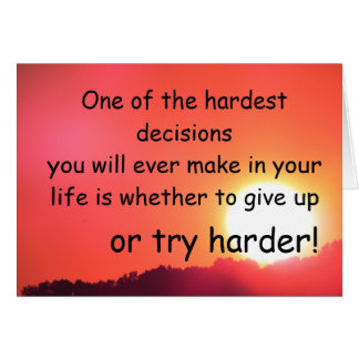 Hardest decisions card