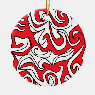 Hardman Abstract Expression Red White Black Double-Sided Ceramic Round Christmas Ornament