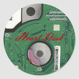 Hardware, Computer Accessories, Heart Disk, Style, Classic Round Sticker