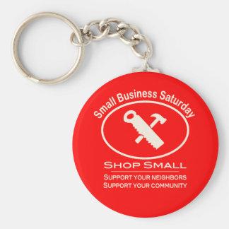Hardware de sábado de la pequeña empresa (blanco) llavero redondo tipo pin