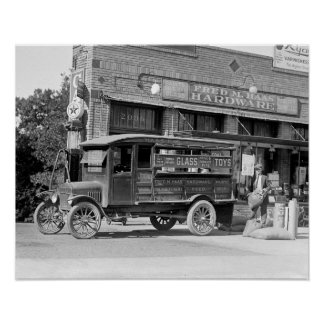 Hardware Store Delivery Truck, 1924. Vintage Photo Poster