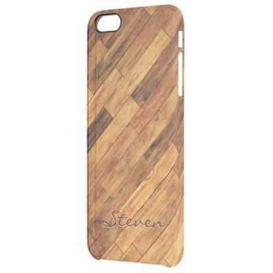 Hardwood Wood Grain Floor Pattern Monogram Name Clear iPhone 6 Plus Case