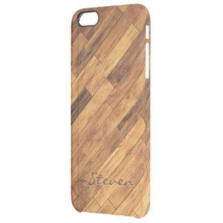 Hardwood Wood Grain Floor Pattern Monogram Name Uncommon Clearly™ Deflector iPhone 6 Plus Case
