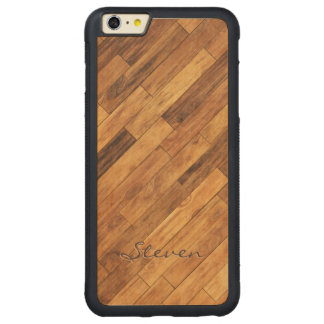 Hardwood Wood Grain Floor - Personalized Name Carved Maple iPhone 6 Plus Bumper Case