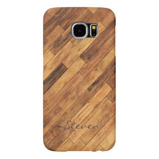 Hardwood Wood Grain Floor - Personalized Name Samsung Galaxy S6 Cases