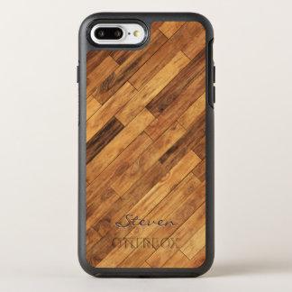 Hardwood Wood Grain Monogram Name OtterBox Symmetry iPhone 7 Plus Case
