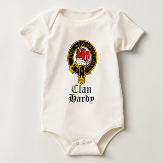 Hardy Scottish Crest and Tartan Clan Name Clothing Baby Bodysuit