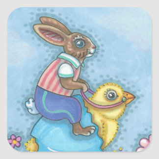 Hare And Baby Chick EASTER BUNNY STICKERS Sheet