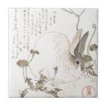"""Hare and Dandelion, Kubo Shunman, Japanese Art Ceramic Tile<br><div class=""""desc"""">Hare and Dandelion,  Kubo Shunman,  Japanese Art rabbit, sumi e, animal, oriental, japan art</div>"""