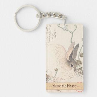 Hare and Dandelion, Kubo Shunman, Japanese art Keychain