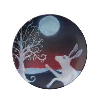 Hare and Moon. Hare and Moon Porcelain Plate