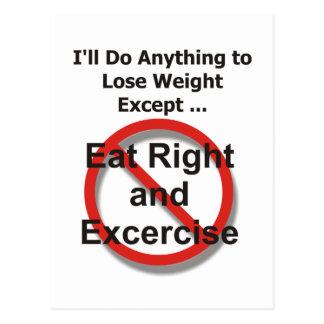 Haré cualquier cosa perder el peso excepto… tarjetas postales