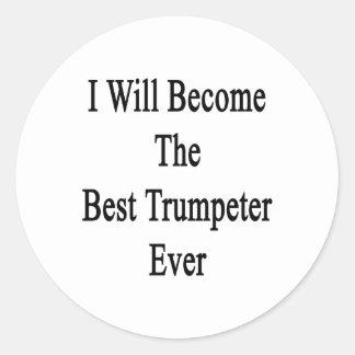Haré el mejor trompetista nunca pegatinas redondas