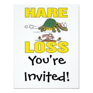 hare loss funny hair loss fable pun cartoon 4.25x5.5 paper invitation card