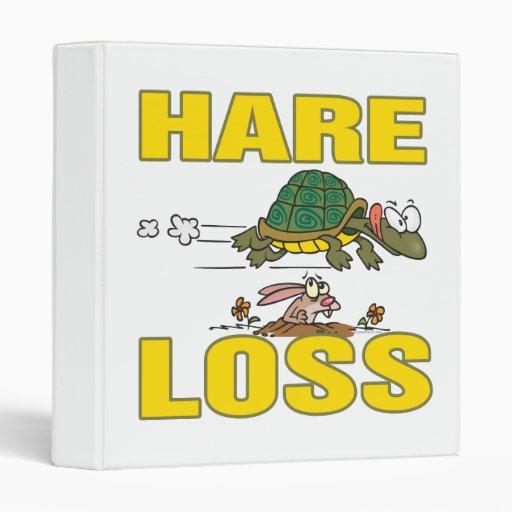 hare loss funny hair loss fable pun cartoon binder