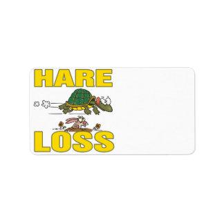 hare loss funny hair loss fable pun cartoon address label