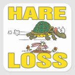 hare loss funny hair loss fable pun cartoon square stickers