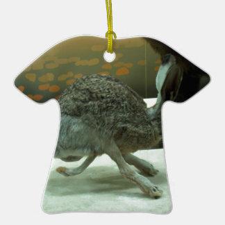 Hare (non-Krishna) running. Taxidermy specimen. Double-Sided T-Shirt Ceramic Christmas Ornament