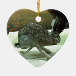 Hare (non-Krishna) running. Taxidermy specimen. Double-Sided Heart Ceramic Christmas Ornament