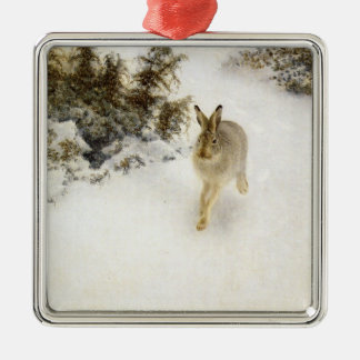 Hare of winter metal ornament