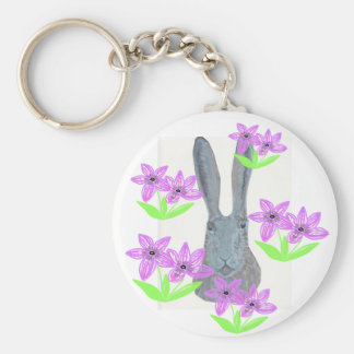 Hare peeping through flowers. basic round button keychain