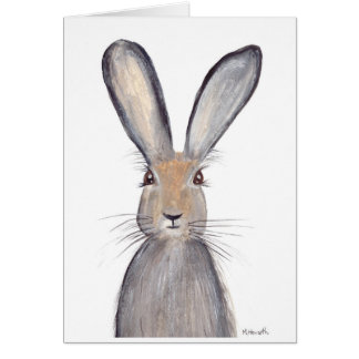Hare rabbit watercolor card