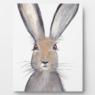 Hare rabbit watercolor plaque