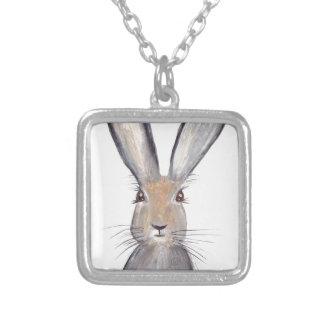 Hare rabbit watercolor square pendant necklace