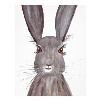 Hare watercolor rabbit art letterhead