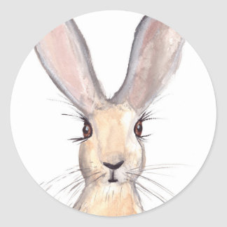Hare watercolour painting classic round sticker
