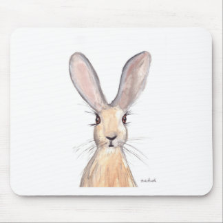 Hare watercolour painting mouse pad