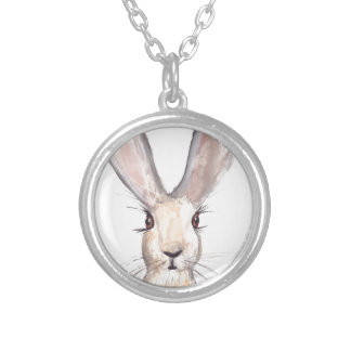 Hare watercolour painting round pendant necklace