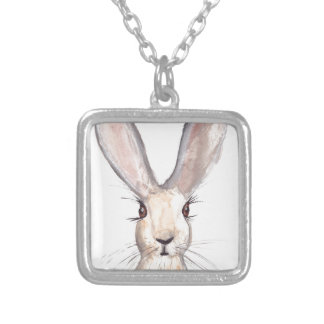 Hare watercolour painting square pendant necklace