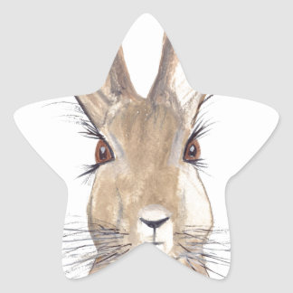 Hare watercolour painting star sticker