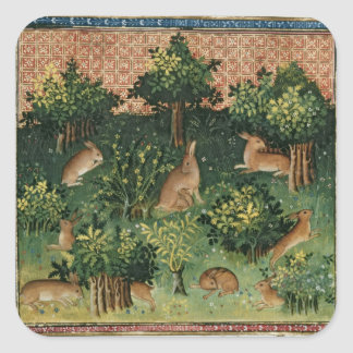 Hares in a Wood Square Sticker