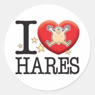 Hares Love Man Classic Round Sticker