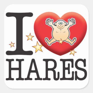 Hares Love Man Square Sticker