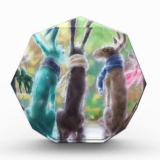 Hares with scarves acrylic award