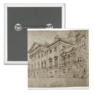 Harewood House, Yorkshire, c.1798 (graphite on tex 2 Inch Square Button