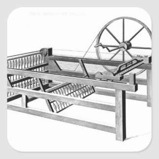 Hargreaves's Spinning Jenny, engraved by Square Sticker