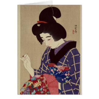 """Hari shigoto"" (Sewing) by Itō Shinsui Card"